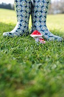 Person in rubber boots standing behind an artificial fly agaric, selective focus