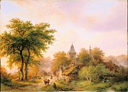 fine arts, Koekkoek, Barend Cornelis, 1803 _ 1862, painting, Gesonnte Dorfstrasse, village road in the sun, 1857, historic, historical, Europe, Nether...