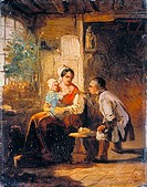 fine arts, Moralt, Ludwig 1815 _ 1888: painting, Eltern und Kind, German, parents and child, family, mother, room, father, 19th century,