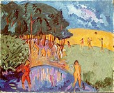 fine arts, Heckel, Erich, 31.7.1883 _ 27. 1.1970, painting, Badende, People bathing, 1911, state gallery, Karlsruhe, Germany, Europe, fine arts, expre...