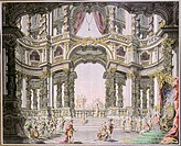 fine arts, da Bibiena, Giuseppe Galli 1696 _ 1757, stage design for the opera Dido and Aeneas by Henry Purcell 1659 _ 1695, drawing, coloured, 18th ce...