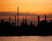 industry, factory, silhouettes, dusk, sundown, BASF, factory, Ludwigshafen, river, water, Rhine, Germany, Europe, Rhin