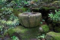 Japanese garden, stone urn, Portland, USA, America, North America, Oregon