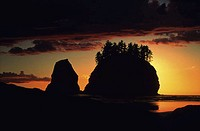 Sunset at Second Beach, Olympic National Park, Washington, USA
