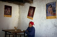 Man at table in restaurant with posters of scantily-clad women on walls, Kashgar, Western China