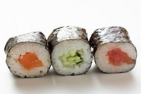 Maki sushi with salmon, with cucumber and with tuna
