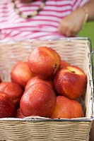 Fresh nectarines in basket, child in background