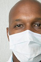 Close up of African man wearing surgical mask