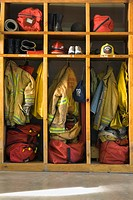 Firemen's gear at firehouse