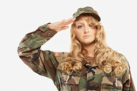 Woman wearing military uniform and saluting