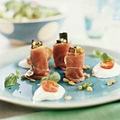 Ham and courgette rolls