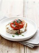 Bruschetta with tomato and pecorino