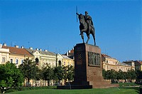 Croatia, Zagreb, King Tomislav Square, Statue of King Tomislav