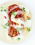 Duck breast in fiery grapefruit sauce with curry and Tequila
