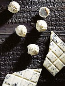 Chocolate truffles and white chocolate with black sesame