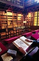 Library. San Salvador de Leyre monastery. Navarra. Spain.