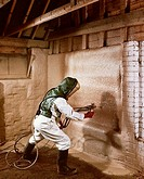 Test spraying foam insulation, Shell International, 1963 Photograph by Maurice Broomfield who recorded British industry´s recovery after the Second Wo...