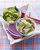 Potato and asparagus salad and strawberry and asparagus salad
