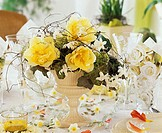 Table decoration with spring flowers