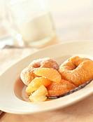 Doughnuts with citrus fruit
