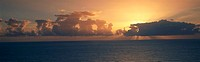 Panoramic view of sunrise on the Pacific Ocean