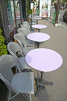 Empty tables at outdoor café, Paris, France
