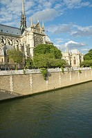 Notre Dame Cathedral next to the Seine River, Paris, France