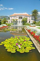 Lilly pads and lotus flowers at The Gardens and Villa Ephrussi de Rothschild, Saint-Jean-Cap-Ferrat