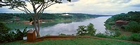 Panoramic view of confluence of Iguazu and Parava Rivers at borders of Chile, Brazil and Argentina