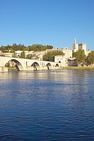 Le Pont St  Benezet and Palace of the Popes and Rhone River