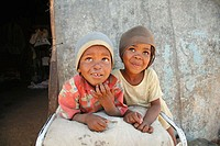 Children living in a slum of Rehobeth. Namibia