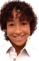 Portrait young African American boy with curly hair