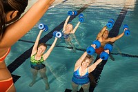 Senior Women Exercising in Swimming Pool (thumbnail)