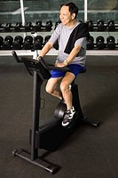 Man Using an Exercise Bike