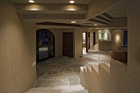 Entry Hall with Stone Floor in Contemporary House