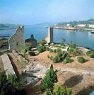 Torres del Oeste ruins, Catoira, Ria de Arosa. Pontevedra province, Galicia, Spain
