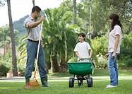 Family doing yardwork