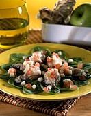 Oysters and apples on spinach - Recipe of Guy Martin - Le Grand Véfour Restaurant - Paris - France