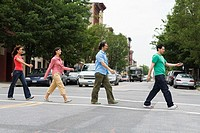 Friends crossing street