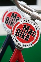 Rental bikes with Mac Bike plates in Amsterdam, Holland, Netherlands