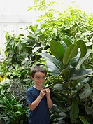 Boy touching the leaf of a large plant