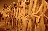 Nagababas sadhus going toward the banks of the sacred river Ganges for their Holy bath during the sadhu's procession in Prayag. Ardh Kumbh Mela 2007