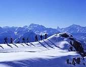 group, snow shoe walking, Aletsch glacier, snow shoes, tour, mountains, Alps, sports, winter, snow, winter sports, Rie