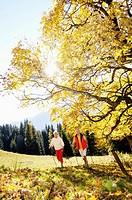 Senior couple nordic walking outdoors