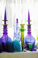 Oriental bottles and glasses, close-up