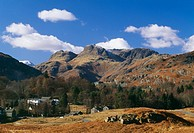 England, Cumbria, Lake District, Elterwater and Langdale Pikes