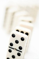 Row of dominoes, close-up