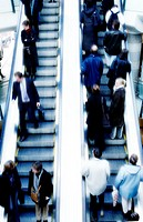 High angle view of a group of people on an escalator