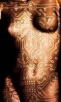 Circuit board superimposed on a naked woman