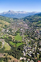 Aerial photography from a plane over Megeve (winter and summer resort) and surroundings. Haute Savoie (74). France